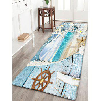 Skidproof Flannel Wood Grain Starfish Heart Rug