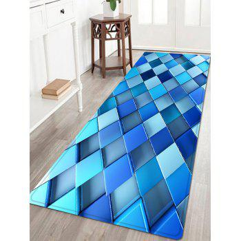 3D Diamond Check Pattern Indoor Outdoor Area Rug - BLUE BLUE
