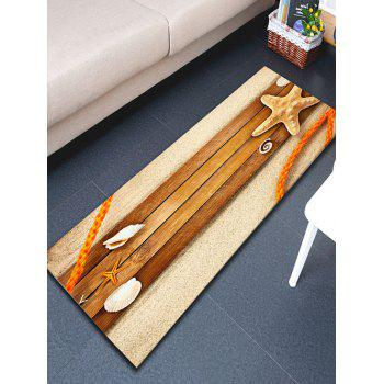 Beach Wood Board Starfish Flannel Antiskid Rug - WOOD W16 INCH * L47 INCH