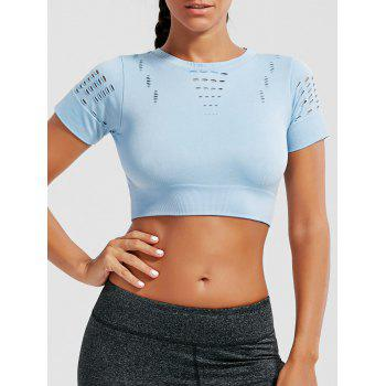 Crew Neck Ripped Crop Sports T-shirt