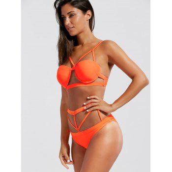 Caged Strappy Underwire Bikini Set - ORANGE RED XL