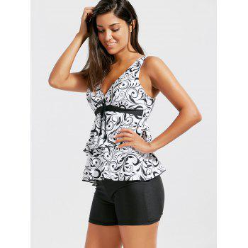 Tiered Flounce Print Blouson Tankini Set - WHITE/BLACK 2XL