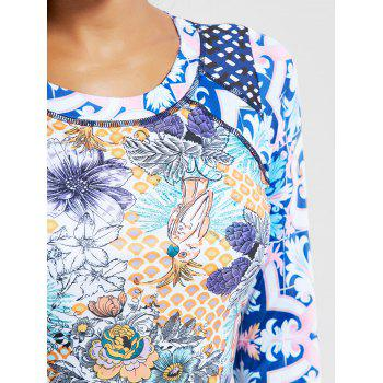 Floral Long Sleeves Two Piece Swimsuit - COLORMIX XL