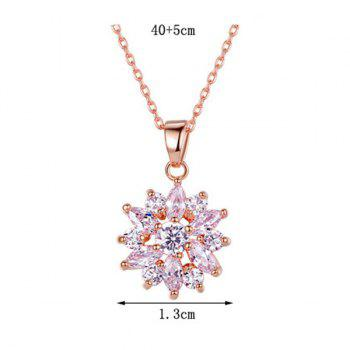 Link Chain Rhinestone Pendant Necklace - ROSE GOLD