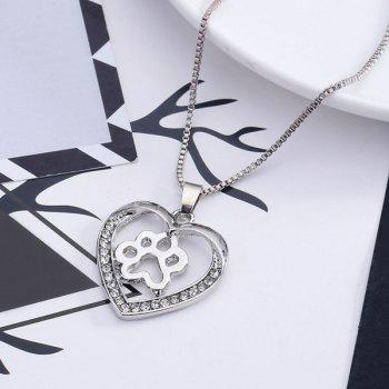 Hollowed Dog Paw Heart Pendant Necklace