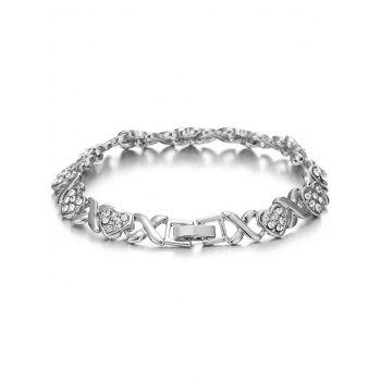 Rhinestone Inlaid Alloy Crossing Heart Bracelet - SILVER