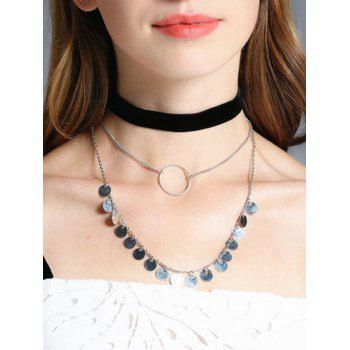 Circle Disc Velvet Choker Necklace Set