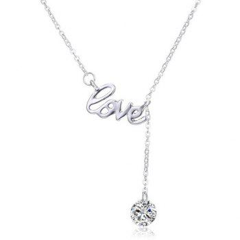 Faux Diamond Pendant Letters Love Embellished Necklace