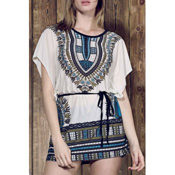 Vintage Style Round Collar Batwing Sleeve Loose-Fitting Ethnic Print Women's Dress