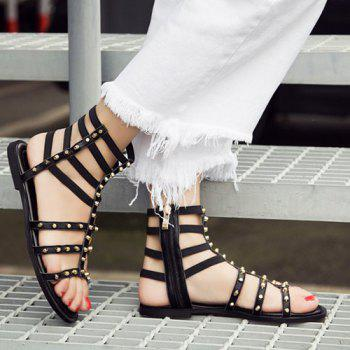 Rivets Zipper Flat Heel Sandals