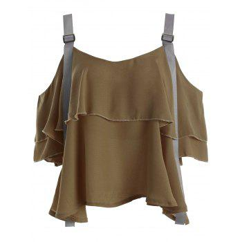 Cold Shoulder Layered Chiffon Blouse