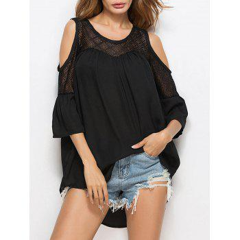 Oversized Cold Shoulder Lace Insert Blouse