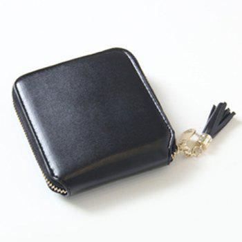 Zip Around Tassel Small Wallet - BLACK