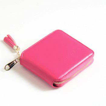 Zip Around Tassel Small Wallet - ROSE RED ROSE RED
