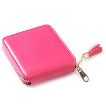 Zip Around Tassel Small Wallet -  ROSE RED