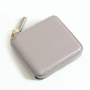 Zip Around Tassel Small Wallet - GRAY