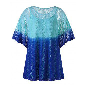 Lace Ombre Plus Size T-Shirt with Camisole