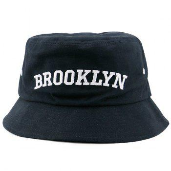 Letters Embroidered Flat Top Bucket Hat