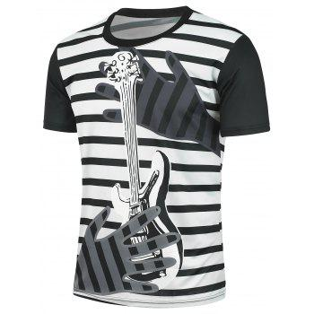 Striped and Guitar Printed T-shirt