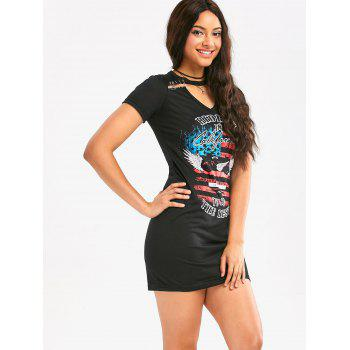 Graphic Print Safe Pins Short Punk Dress - BLACK BLACK