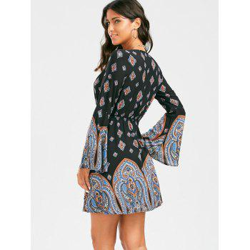 Plunging Neck Long Sleeve Paisley Bohemian Tunic Dress - S S