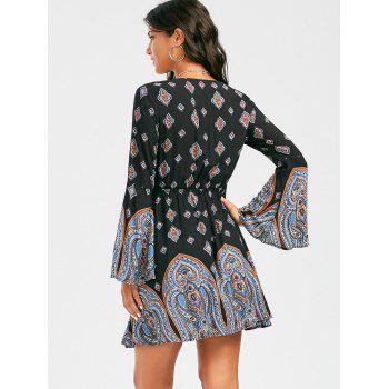 Plunging Neck Long Sleeve Paisley Bohemian Tunic Dress - XL XL