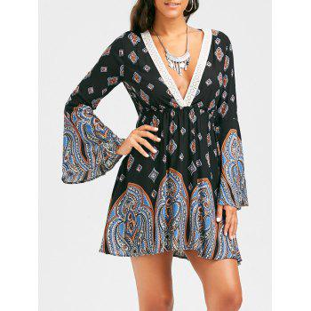 Plunging Neckline Paisley Print Bohemian Tunic Dress