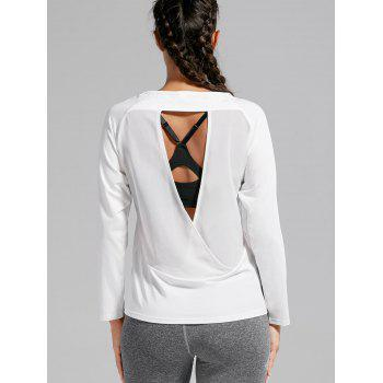 Quick-dry Open Back Sports T-shirt - WHITE WHITE