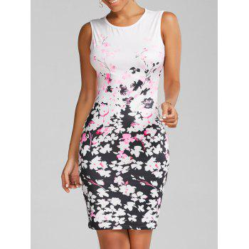 Round Neck Floral Print Bodycon Dress