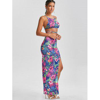 Strappy Top and Floral Print Asymmetrical Skirt - L L