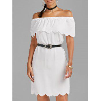 Off The Shoulder Scalloped Dress - WHITE S
