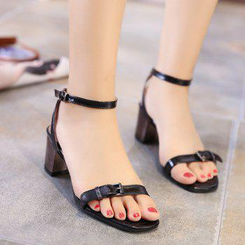 Double Belt Buckle Mid Heel Sandals