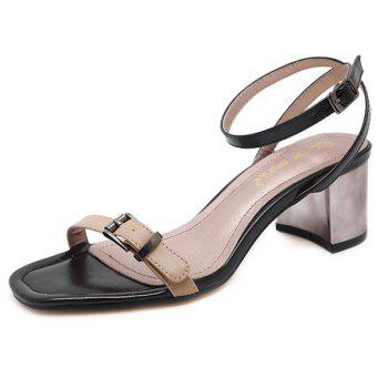 Double Belt Buckle Mid Heel Sandals - APRICOT 38
