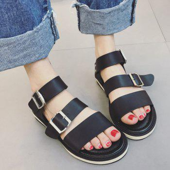 Faux Leather Flat Heel Double Buckle Strap Sandals