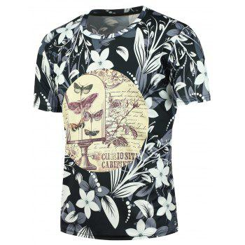 Short Sleeves Butterflies and Flowers Printed Tee