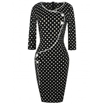 Polka Dot Buttons Slit Work Dress