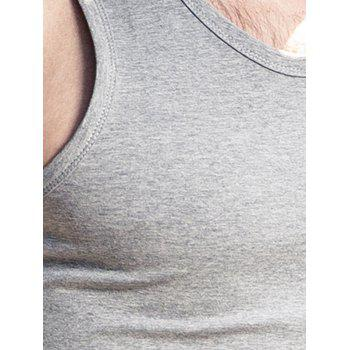 Slim Fit Round Neck Flat Tank Top - Gris Clair 2XL