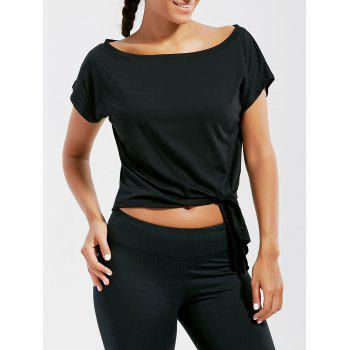 Active Cropped Front Tie T-shirt - BLACK S
