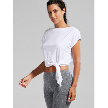 Active Cropped Front Tie T-shirt - WHITE WHITE