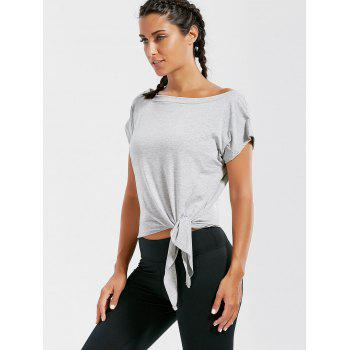 Active Cropped Front Tie T-shirt - GRAY GRAY