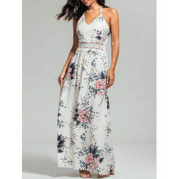 Lace Panel Cutout Floral Cami Maxi Dress