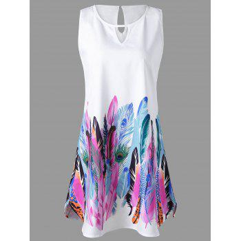 Keyhole Neck Feather Print Sleeveless Dress