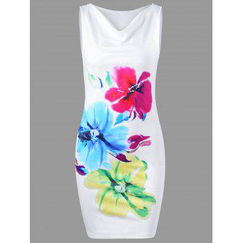 Cowl Neck Floral Sleeveless Tight Dress