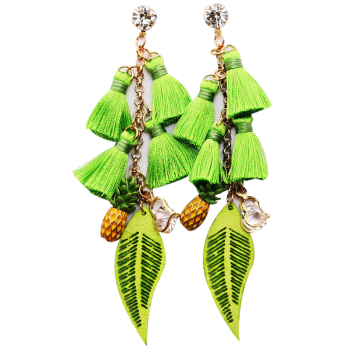 Rhinestone Tassel Pineapple Heart Chain Earrings