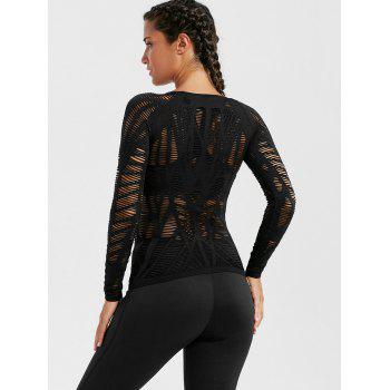 Long Sleeve Sheer Ripped Sports T-shirt - M M