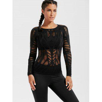 Long Sleeve Sheer Ripped Sports T-shirt - BLACK BLACK