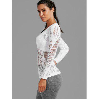 Long Sleeve Sheer Ripped Sports T-shirt - WHITE S