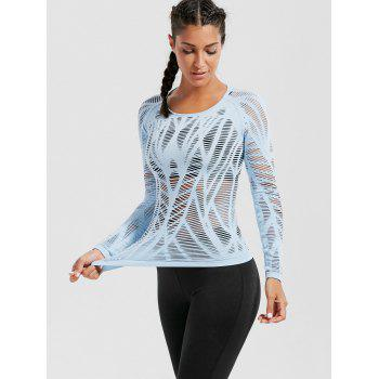 Long Sleeve Sheer Ripped Sports T-shirt - LIGHT BLUE LIGHT BLUE