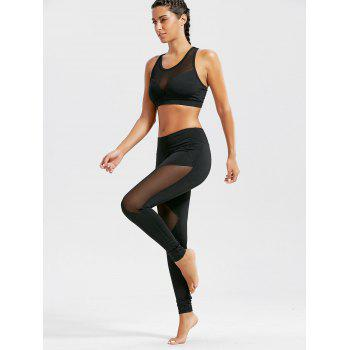 Sheer Mash Sports Bra and Workout Leggings Set - L L