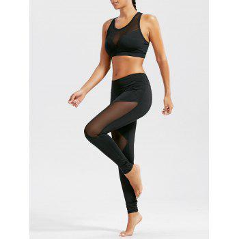 Sheer Mash Sports Bra and Workout Leggings Set - BLACK BLACK